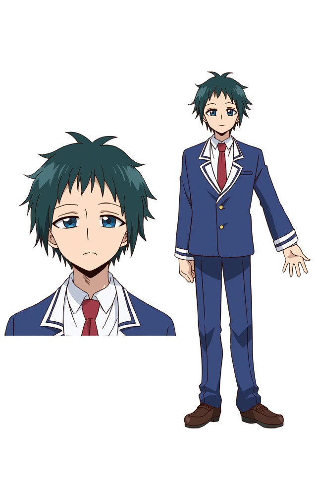 A character setting of Nanao Terashima, an unassuming boy from the upcoming Talentless Nana TV anime. Nanao has dark hair and blue eyes and he wears a blue school uniform with a jacket and a red tie.