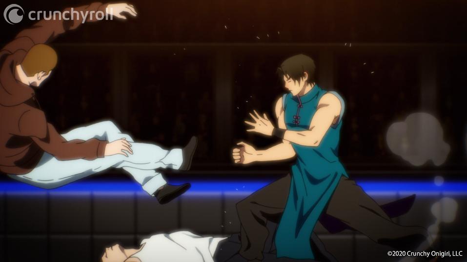 El maestro de tai chi Go Gamdo golpea a algunos trabajadores de artes marciales durante la ronda preliminar del torneo del anime televisivo The God of High School.