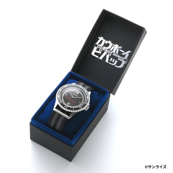 A promotional image of the SEIKO x Cowboy Bebop Wrist Watch, displaying the watch nestled in its Cowboy Bebop themed packaging.