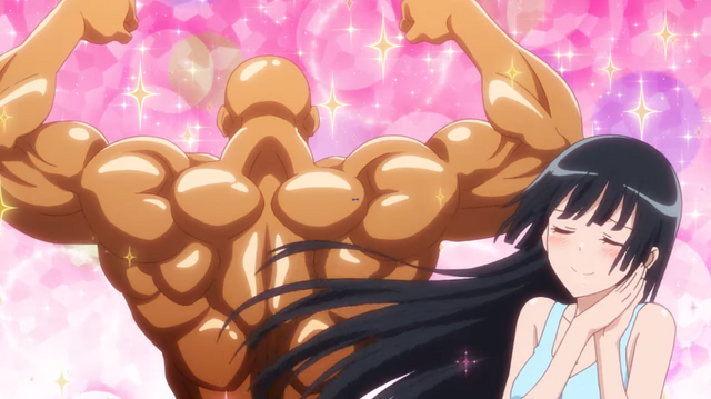 Akemi Souryuin admires a bodybuilder's meticulously sculpted deltoids.