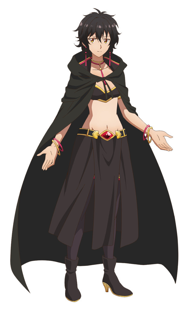 Remia is a dark-haired sorceress wearing a cloak and midriff outfit.