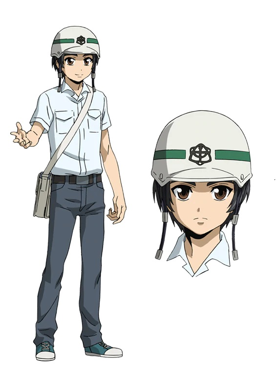 A character setting of Shinji Okihara, a young man in a safety helmet, a dress shirt, and slacks, from the upcoming High-Rise Invasion Netflix Original Anime.