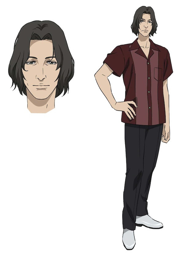 Ron, a man with shaggy hear who wears a button up collared shirt, slacks, and white dress shoes in the pet TV anime.