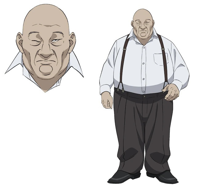 Shachou, a portly, bald man with a bad right eye who dresses in a dress shirt, slacks, and suspenders in the pet TV anime.
