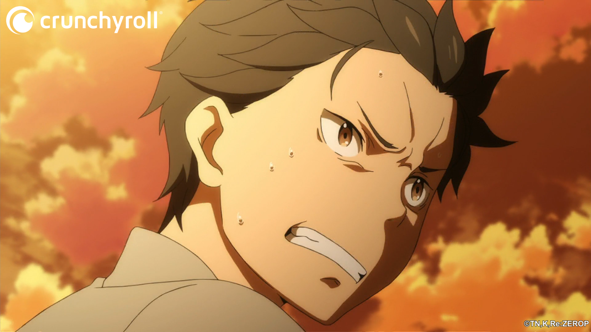Natsuki Subara prepares to fling himself off of a cliff in order to reset the timeline in a scene from the Re:ZERO -Starting Life in Another World- TV anime.