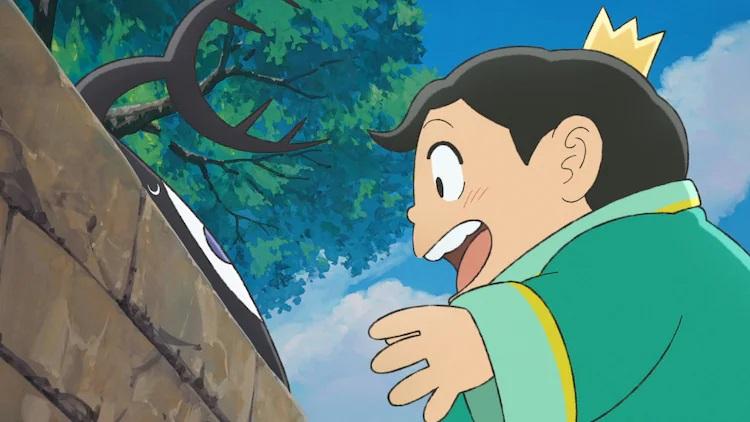 El príncipe Bojji está emocionado de hacerse amigo de Kage, una criatura amorfa, en una escena del próximo anime de televisión Ranking of Kings.