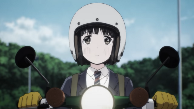 Koguma, a high school girl, enjoys a pleasant ride on her Honda Super Cub mini-motorcycle in a scene from the upcoming Super Cub TV anime.