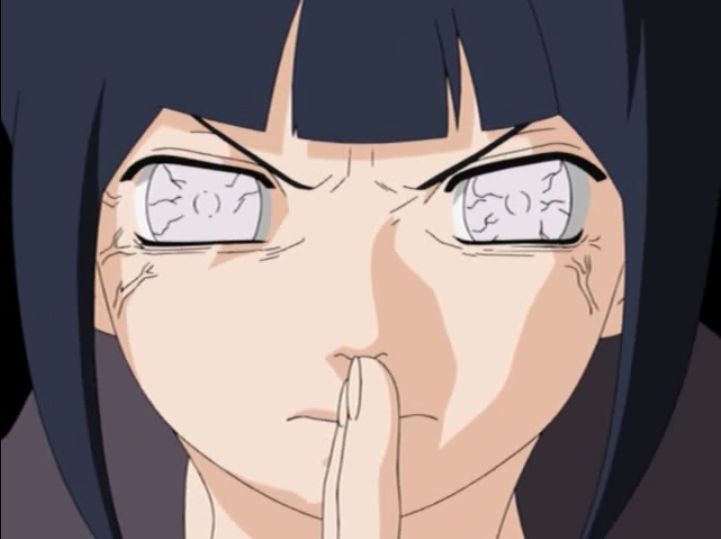 Hinata Hyuga prepares to unleash her ultimate defensive jutsu - Protective 8 Trigrams 64 Palms - in a scene from Episode 151 of the 2002 - 2007 Naruto TV anime.