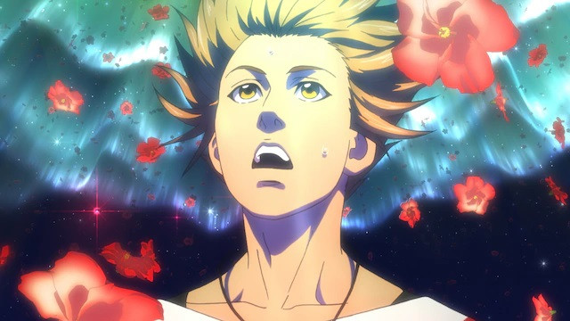 Main character Hiroki is surrounded by floating flower petals in a scene from the upcoming pet TV anime.