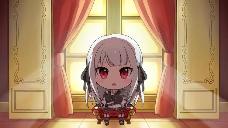 Una imagen del próximo mini anime web Eiyuu-ou, Bu wo Kiwameru tame Tensei su, ~ Soshite Sekai Saikyou no Minarai Kishi♀ ~, con la heroína, Inglis, en forma de chibi sentada en un trono diminuto.