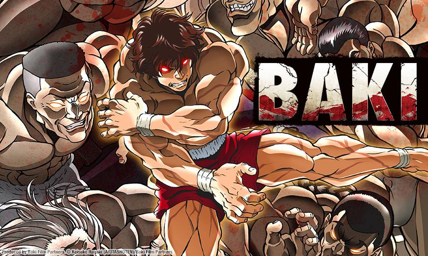 A banner image for the upcoming home video release of BAKI by Sentai Filmworks, featuring Baki Hanma facing off against the most vicious death row inmates in the world.