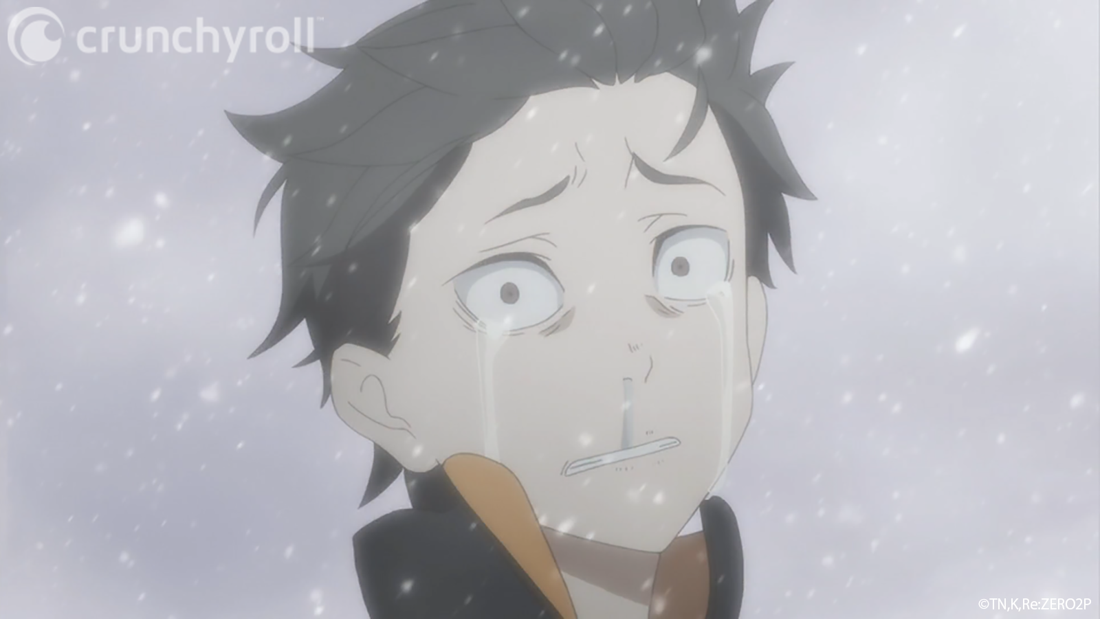 Natsuki Subaru openly weeps for the deaths of his friends before being swiftly executed by Puck in a scene from the Re:ZERO -Starting Life in Another World- TV anime.
