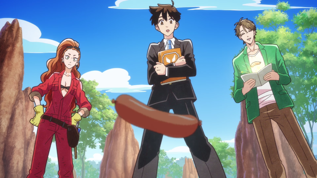 "Shimoda and company witness the antics of a ""lively sausage"", a provisional animal design, in a scene from the upcoming Heaven's Design Team TV anime."
