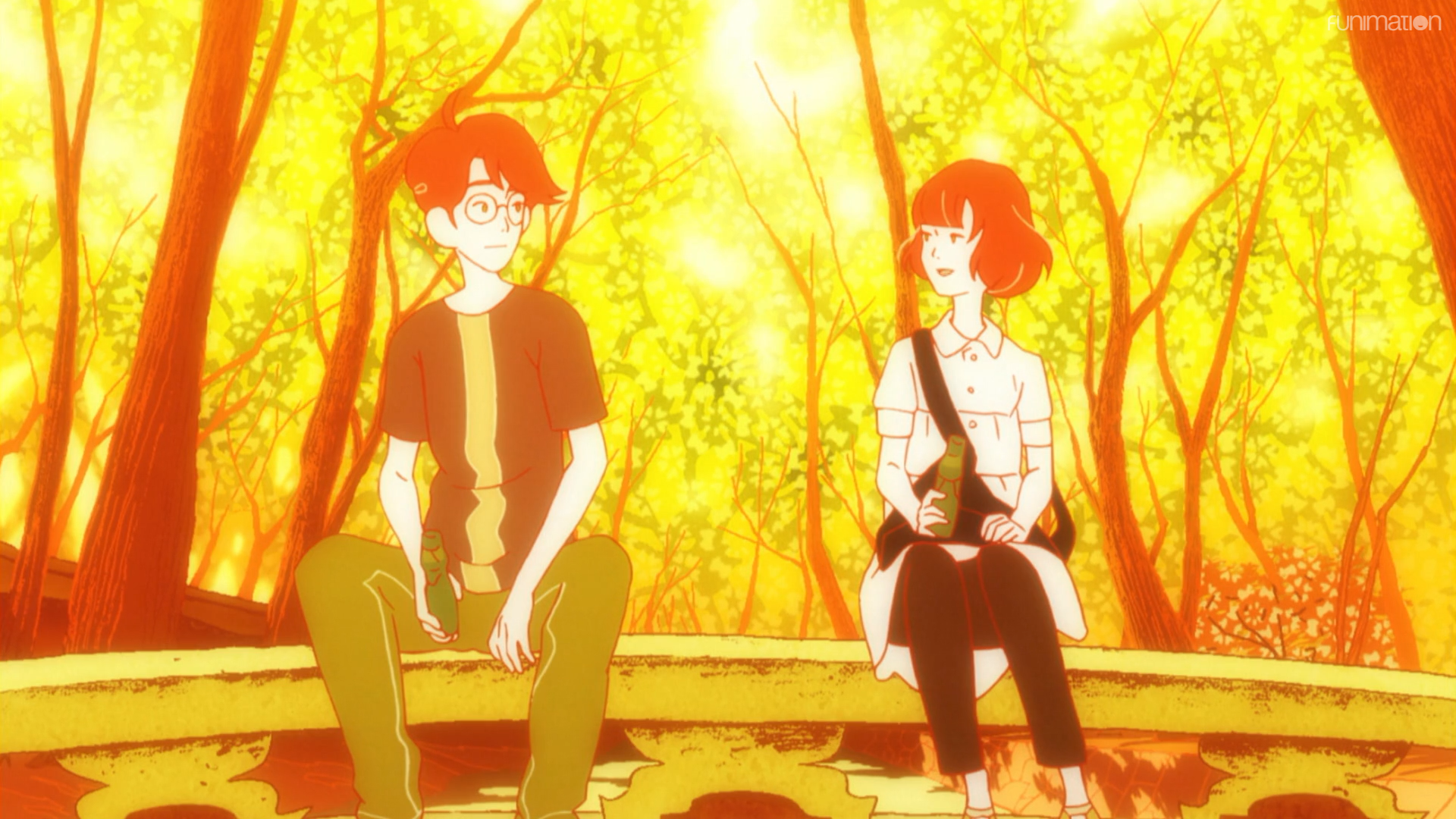 "The protagonist and the Raven-Haired Girl share a quiet moment over bottles of Ramune during the ""magic hour"" in a scene from The Tatami Galaxy TV anime."