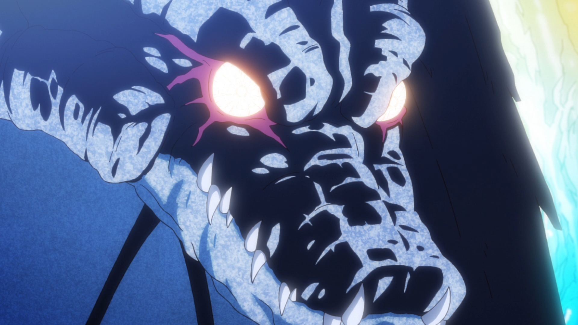 Veldora the Storm Dragon, a primordial being overflowing with magical power, prepares to have lovely chat with the as-yet-unnamed Rimiru in a scene from the That Time I Got Reincarnated as a Slime TV anime.