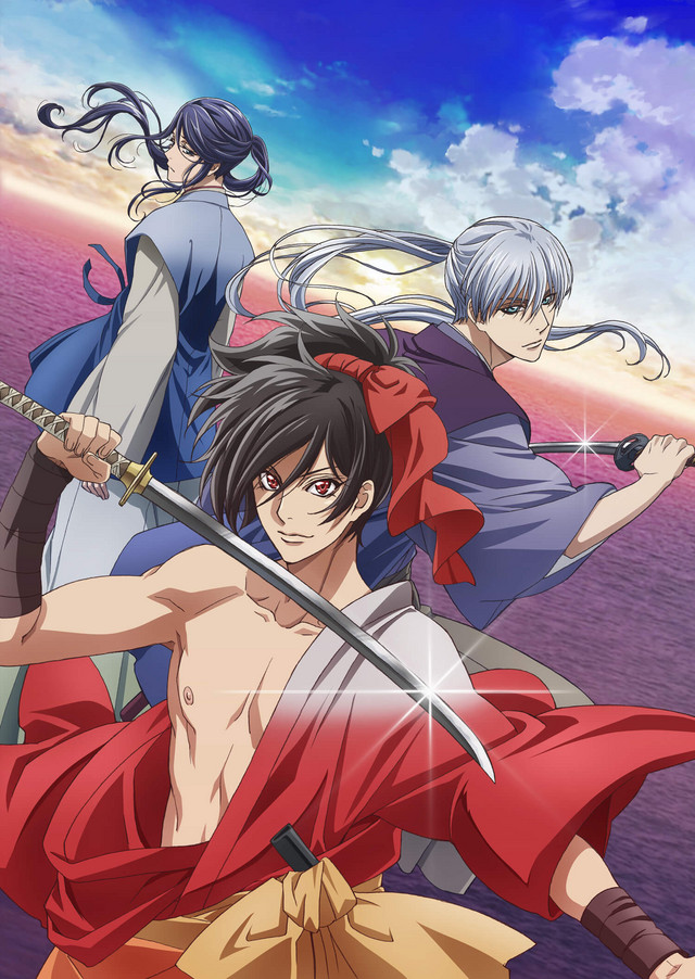 Oda Nobunaga, Ikeda Tsuneoki, and Oda Nobuyuki pose dramatically in front of a background featuring the sea and the vast blue sky.