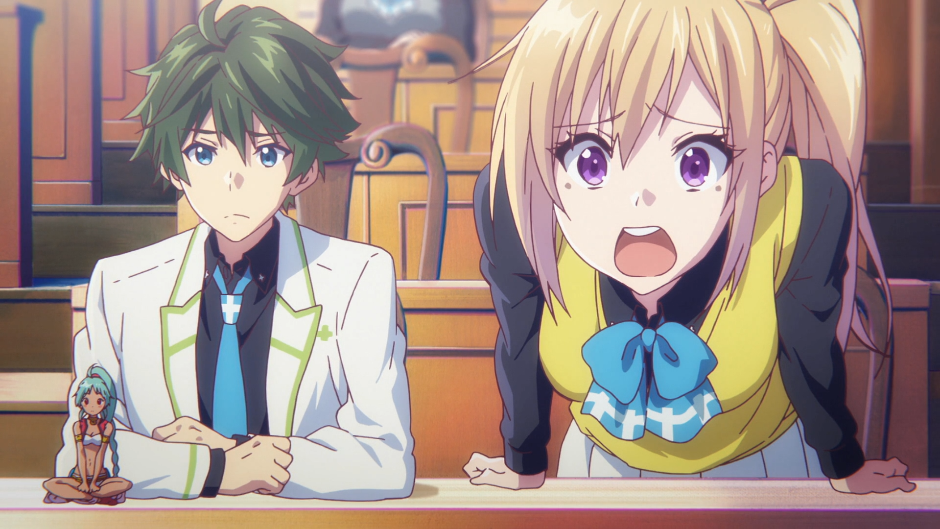Mai overreacts to news of her Phantom Hunting team's poor ranking while Haruhiko and Ruru look on impassively in a scene from the 2016 Myriad Colors Phantom World TV anime.