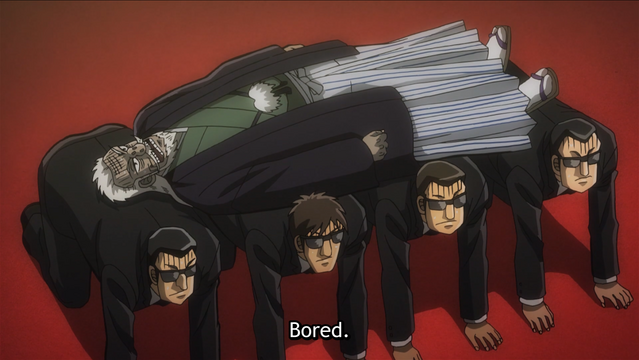 Overcome with ennui, President Hyoudou lays on a bed made up of his men in black underlings, who are forced to kneel as his furniture in Mr. TONEGAWA Middle Management Blues.
