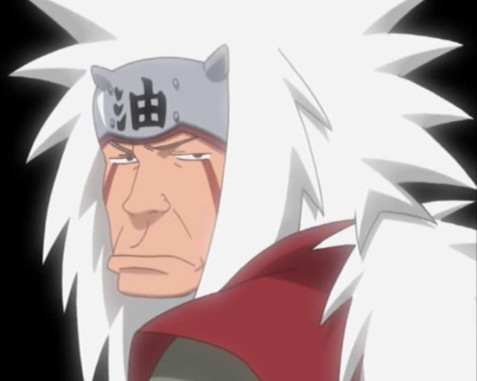 Jiraiya makes a goofy grimace in Naruto's imagination in a scene from Episode 186 of the 2002 - 2007 Naruto TV anime.
