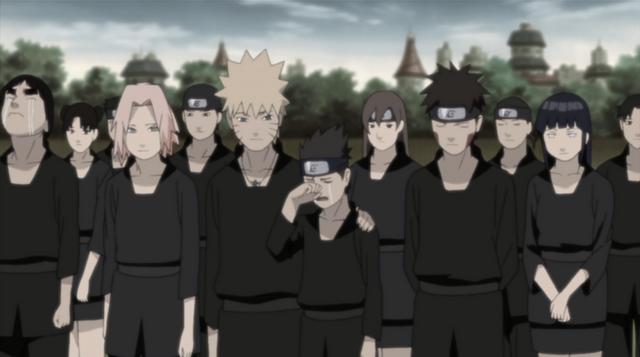 Naruto comforts Konohamaru at Asuma's funeral