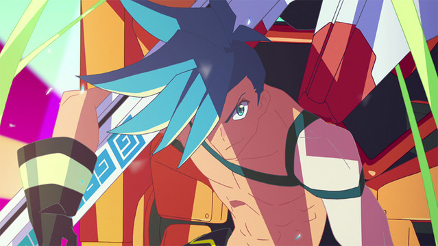 Galo Thymos from the 2019 anime theatrical film, Promare, directed by Hiroyuki Imaishi and animated by Studio TRIGGER.