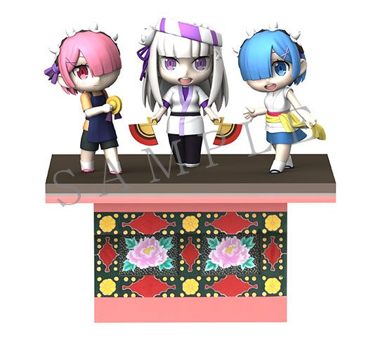 A 3DCG mock-up of the Nebuta floats of Ram, Emilia, and Rem from Re:ZERO -Starting Life in Another World- for the Goshogawara Tachi-Nebuta Festival in Aomori Prefecture.