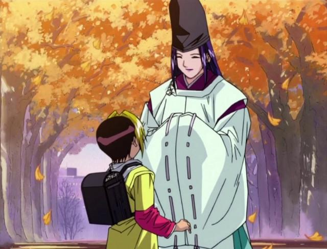 Fujiwara no Sai meets Hikaru Shindo in a scene from the Hikaru no Go TV anime.