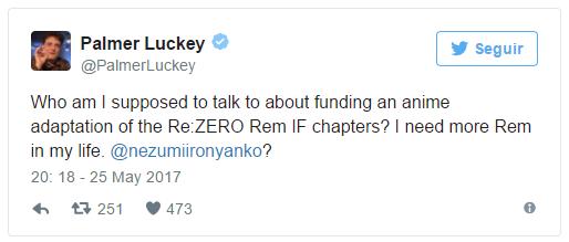 Palmer Luckey quer financiar Re:Zero