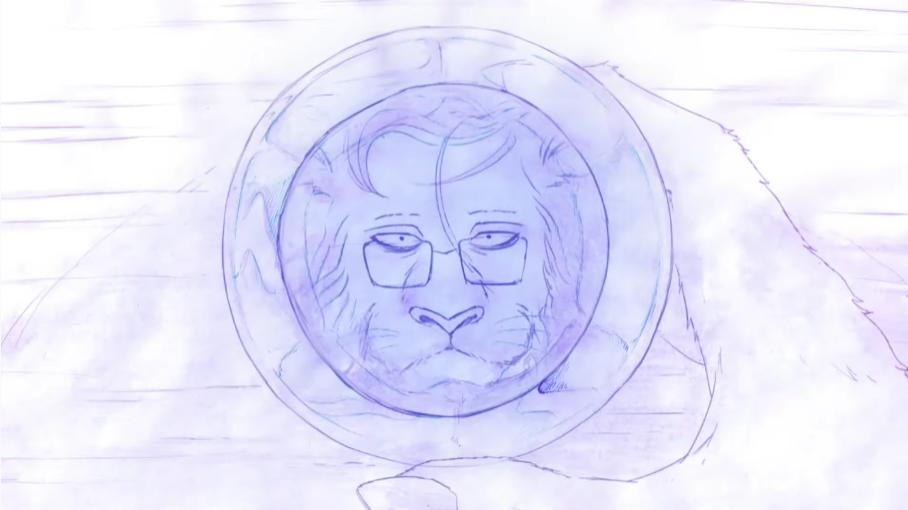 Itagaki, un león y miembro de la familia del crimen organizado Shishigumi, contempla su reflejo en una taza de café en una escena de la animación del tema ED de la segunda temporada del anime BEASTARS TV.