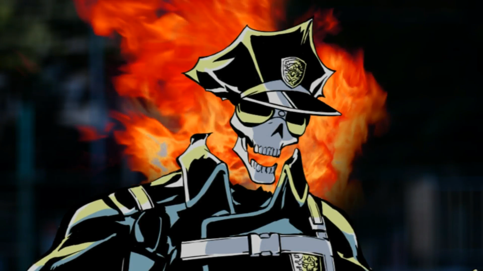 Inferno Cop prepares to unleash some fiery justice in a scene from the 2012 Inferno Cop original web anime.