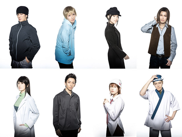 A promotional image for the upcoming Durarara!! stage play, featuring eight of the principal cast in full costume and make-up.