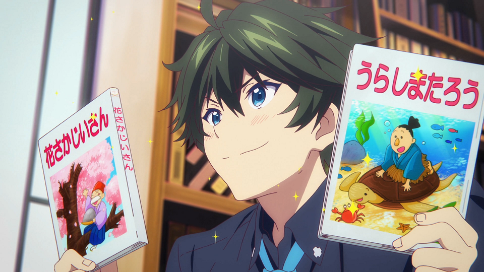 Haruhiko Ichijo brandishes books full of popular Japanese folktales in a scene from the 2016 Myriad Colors Phantom World TV anime.