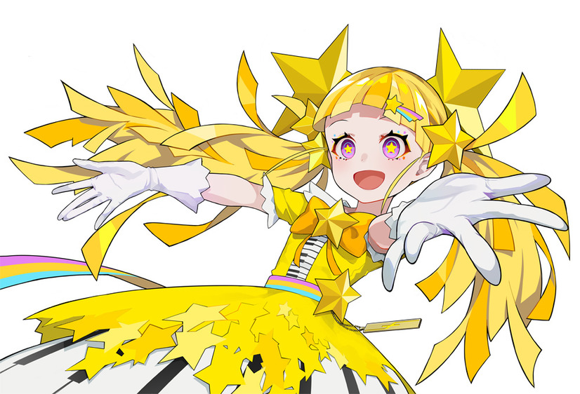 Un escenario de personajes de Twinkle Twinkle Little Star, una heroína de la próxima operación takt.  Anime de TV.  Twinkle Twinkle Little Star está representada como una mujer joven con un disfraz de ídolo pop con cabello amarillo brillante arreglado en colas gemelas y estrellas amarillas en lugar de iris en sus ojos rosados.  Ella tiene un pasador de estrella fugaz en el cabello, y su atuendo de ídolo tiene estrellas, arcoíris y un teclado mezclado entre su tema.
