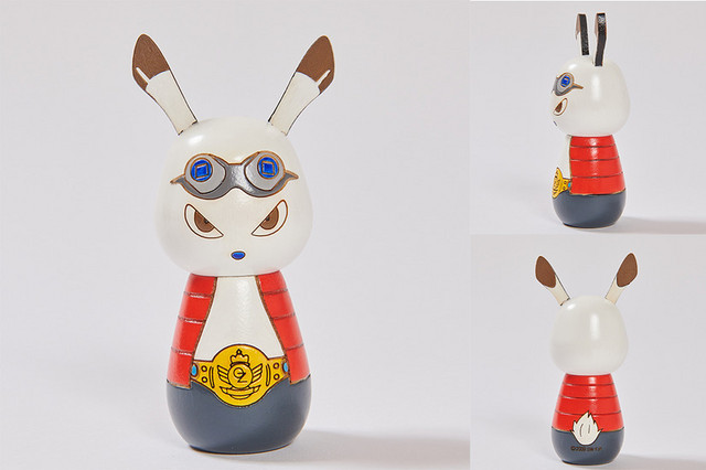 A promotional image depicting the King Kazuma kokeshi dolls sold at the Summer Wars pop-up store.