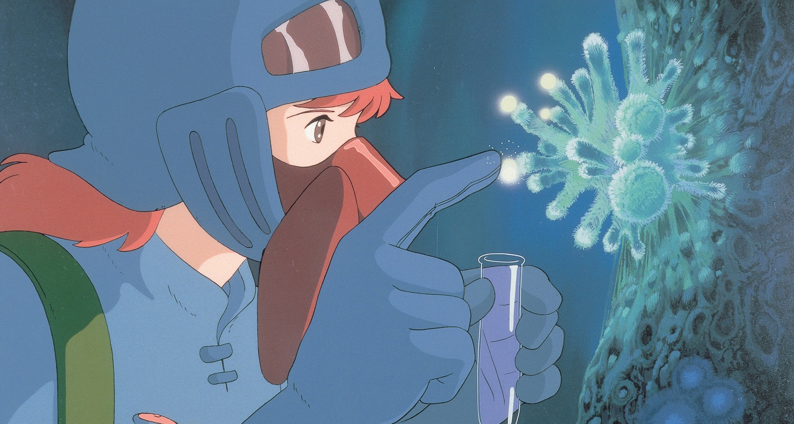 Princess Nausicaä collects a spore sample from a flowering fungus in the Toxic Forest in a scene from the 1984 Nausicaä of the Valley of the Wind theatrical anime film.