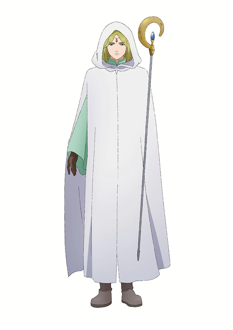 Un escenario de personaje de White Mage, un mago rubio con largas túnicas blancas y que lleva un bastón de luna creciente, del próximo anime de televisión Dragon Goes House-Hunting.