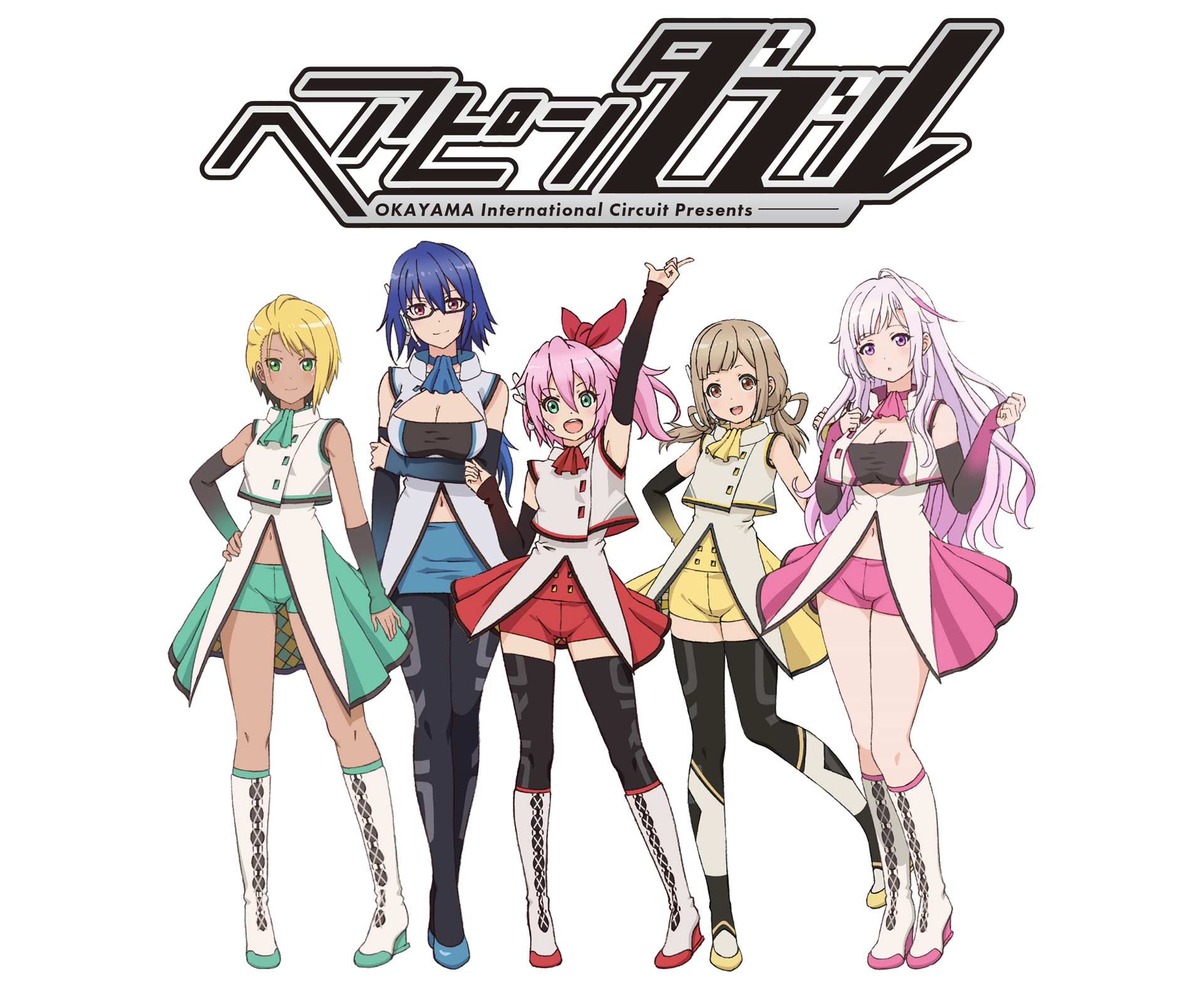 A key visual for the upcoming Hairpin Double short form anime, featuring the five main characters in their superhero idol outfits.