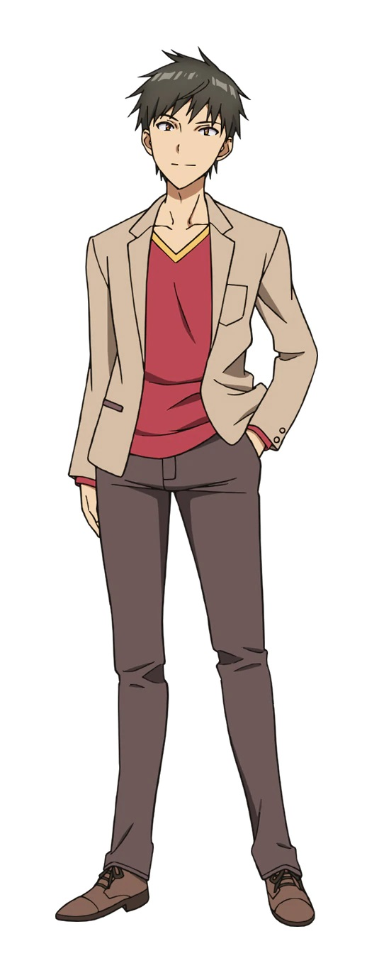 A character setting of Tsurayuki Rokuonji, a young man with dark hair and yellow eyes dressed in a business casual outfit from the upcoming Bokutachi no Remake TV anime.