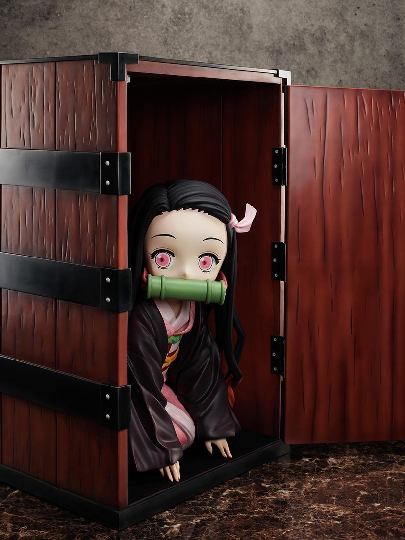 "A promotional image of the ""Demon Slayer: Kimetsu no Yaiba Boxed Nezuko Big Size Figure"" from FuRyu Corporation, depicting Nezuko emerging from her box."