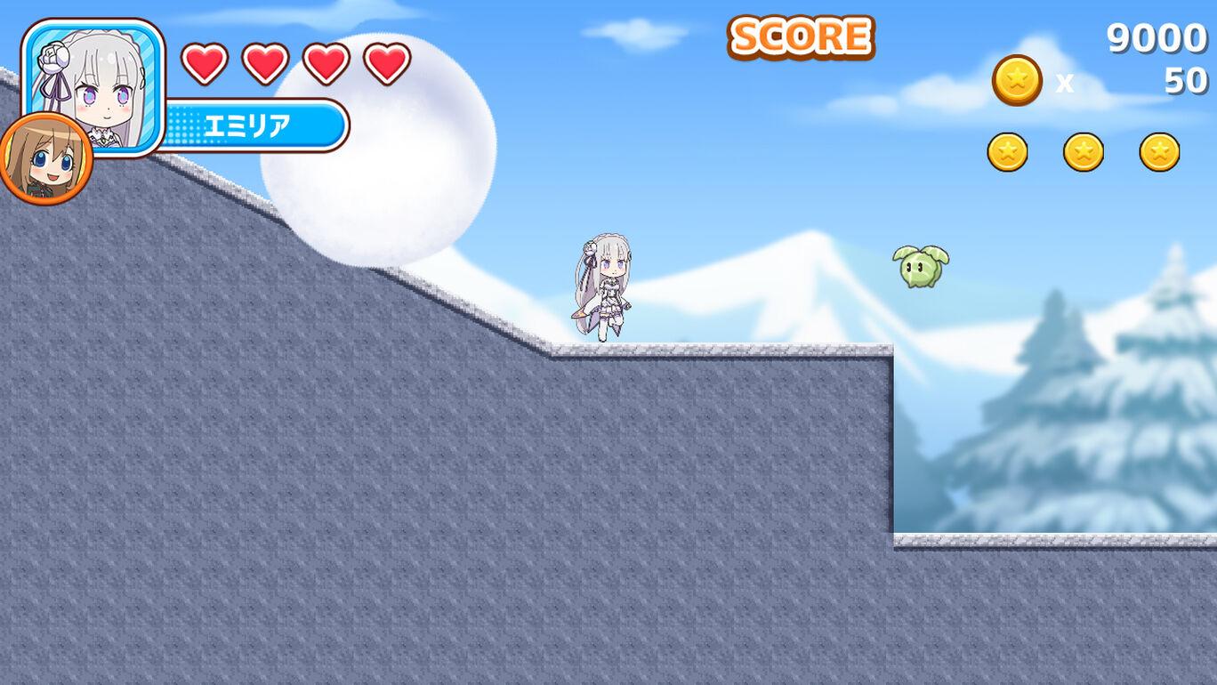 ¡Emilia de Re: ZERO -Starting Life in Another World- se enfrenta a una gran bola de nieve rodante y un repollo agresivo en una escena de Maker Series Oselao Quartet Adventure!  Juego de acción para Nintendo Switch.
