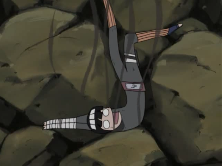 Rock Lee is reduced to a smoldering, rubbery mass after being hit with a lightning attack in a scene from Episode 157 of the 2002 - 2007 Naruto TV anime.