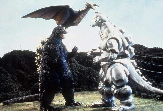 A photo from the set of Godzilla vs. Mechagodzilla II, featuring Godzilla, Rodan, and Mechagodzilla.