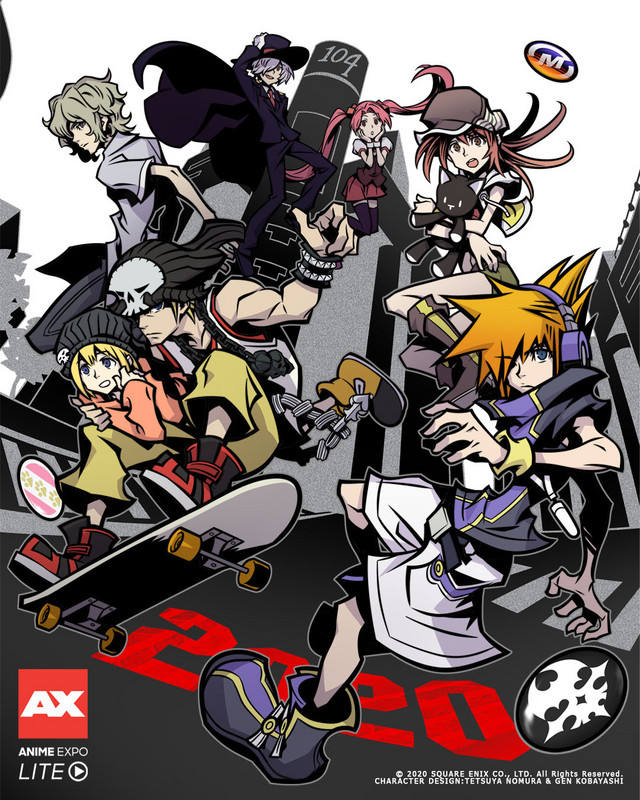 A key visual for the Anime Expo Lite virtual convention, featuring the cast of The World Ends with You interacting with Ai & Xeno, the mascot characters for Anime Expo, Ai & Xeno.