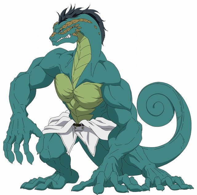 In Basilisk form, Edgar is a massive, muscular, humanoid lizard with a curly chameleon tail.