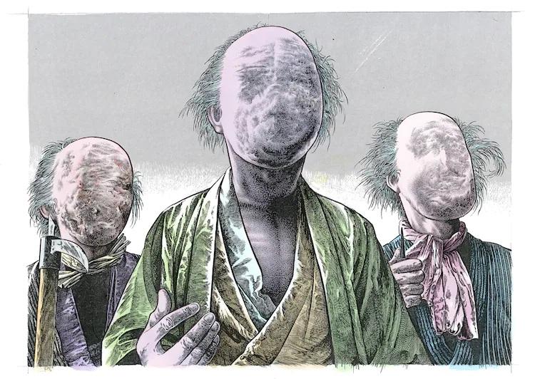 Una ilustración de tres noppera-bo - yokai que se asemejan a humanos sin rasgos faciales - sosteniendo objetos puntiagudos de manera amenazadora.