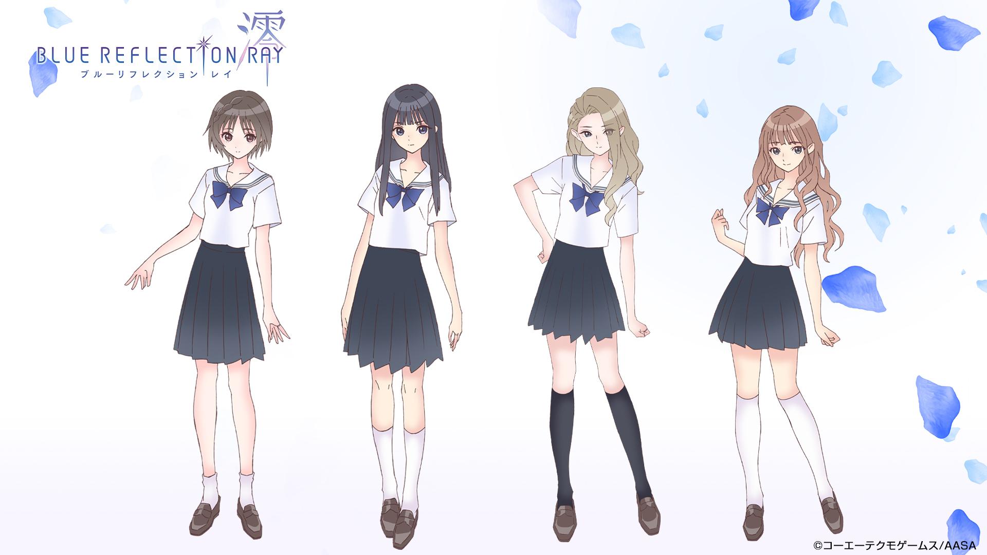 Una imagen promocional para el próximo anime de BLUE REFLECTION RAY / Mio TV, con los cuatro personajes principales vestidos con sus uniformes de la escuela secundaria.