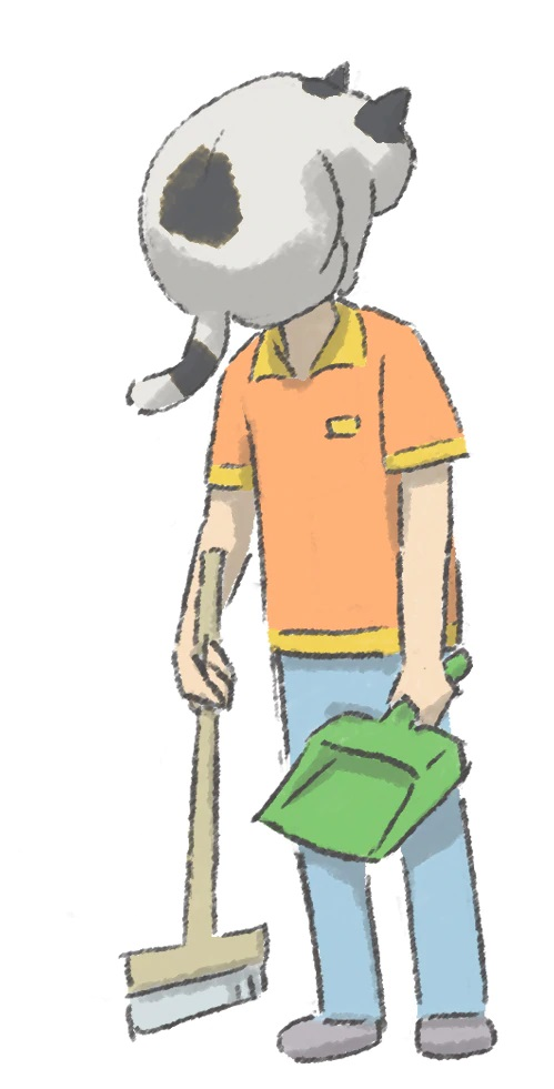A character setting of Muto, a convenience store employee with a cat covering his face, from the upcoming Soredake ga Neck TV anime.