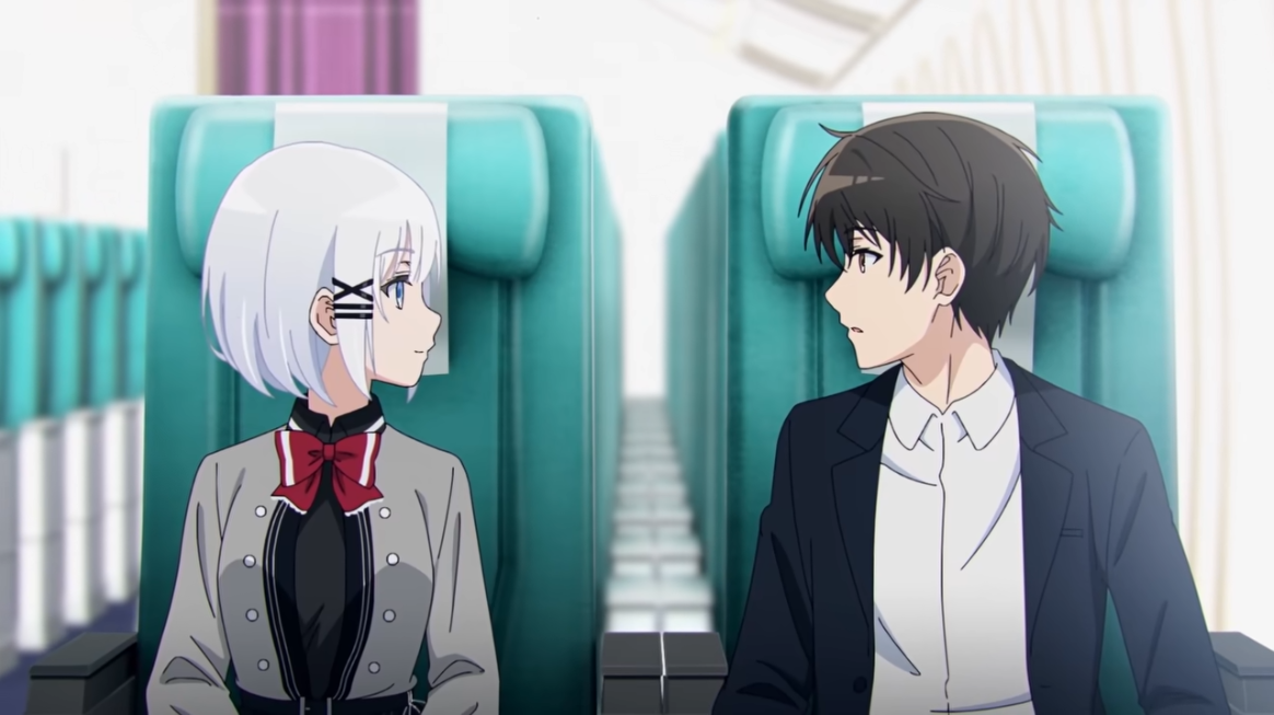 La gran detective Siesta y su futura asistente, Kimihiko Kimitsuka, se encuentran en un avión comercial aparentemente vacío en una escena del próximo anime de televisión The Detective is Already Dead.