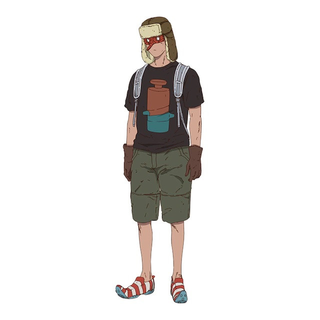 Fujita, a Sorcerer with a trapper hat, a Tengu mask, and pointy-toed shoes in the Dorohedoro TV anime.