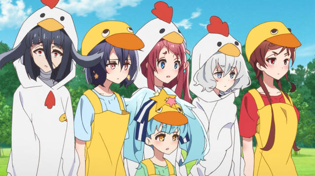 The girls of Franchouchou dress as chickens for a TV commercial in the ZOMBIE LAND SAGA TV anime.
